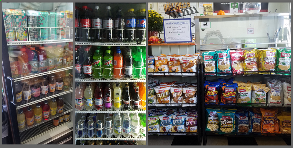 We have a wide selection of cold drinks & chips